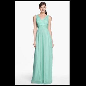 Donna Morgan Silk Chiffon Spearmint Long Dress